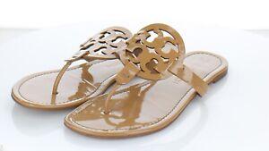18-32  $198 Women's Sz 9 M Tory Burch Miller Patent Leather Medallion Sandals