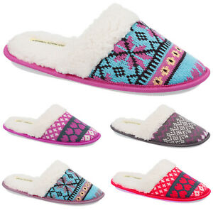 Ladies & Girls Slip On Fairisle Slippers Size 3 to 8 UK - WARM FAUX FUR LINED