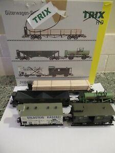TRIX HO 5 CAR SET, # 24104, flat car, hopper, tank car, boxcar & caboose