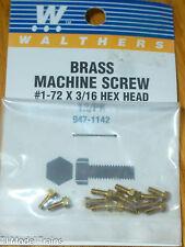 """Walthers #947-1142 /1-72 Brass Hex Head Machine Screws 3/16 x .073"""" .19 x .19cm"""
