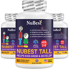 Pack of 3 NuBest Tall Kids for Age 4-9 Helps Kids Grow & Develop 60 Chew Tablets