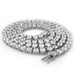 18k White Gold 1 Row 5MM Lab Diamond Out Iced Necklace Men's Tennis Chain