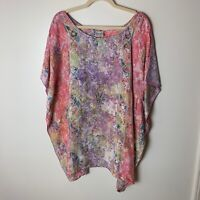 Tropical Vibrations Women's Top Size Large Handmade Original OOAK Batik Art