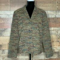 Requirements Sz 18 Button Up Cardigan Sweater Multi Color Chevron Pockets NEW