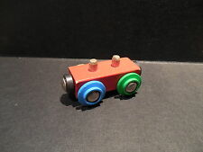 Rare BRIO Load Car Train holds Wooden Cargo Four Different Colored Wheels