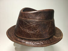 Jill Corbett trilby hat cracked brown leather Made in England  S/M/L/XL/XL