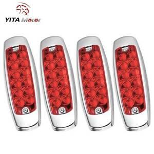 YITAMOTOR 4pcs Red 12 LED Side Marker Clearance Light for Car Truck Trailer Mack