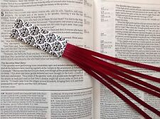 bookmark ribbons multi page for Bible, hardcover books BURGUNDY handmade