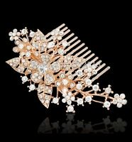 Bridal Wedding Clear Austrian Crystal Flower Hair Clip Comb Head Piece Rose Gold