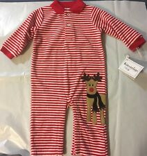 Christmas Knit Romper Unisex  Red And White Striped 6-9M Kitestrings Baby