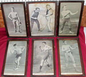 6 Antique Boxing Picture Prints Photos Bare Knuckle John L Sullivan Old Vintage