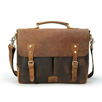 "Men Real Leather Briefcase 14"" Laptop Satchel Handbag Shoulder Bag Tote Attache"