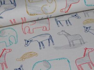 Jersey Zoo Tiere Baby schlicht Baumwolljersey 50/150cm creme bunt