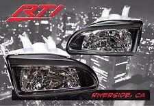 92-95 Honda Civic EG EJ EH Glass JDM Black Headlights + City Light SI EX SiR LX