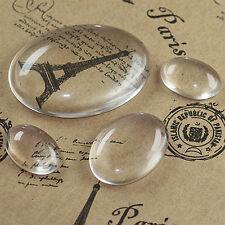 13 Mm x 18 Mm x 20 un. Transparente Vidrio Cabuchones Oval Azulejos Domos cameo