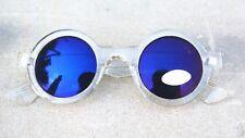 round Steampunk blue mirror unisex rock unusual vintage John Lennon  sunglasses