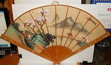 CHINESE BIRDS & PINK CHERRY BLOSSOM WATERCOLOR FAN PAINTING ARTIST SIGNED