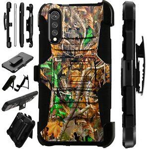 Luxguard For LG Velvet 5G Phone Case Holster Kickstand Cover CAMO LEAVES