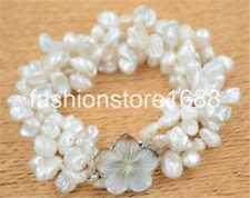 "4row 8"" 8-9mm white lamina BAROQUE KESHI REBORN PEARL bracelet"