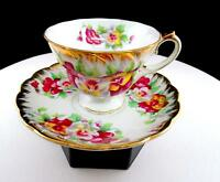 "ENGLISH CHINA MAUVE YELLOW WHITE PANSY GOLD 2 3/4"" FOOTED CUP & SAUCER SET"