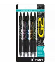Pilot G2 Fashion Collection Gel Roller Pens, Fine Point, Black Ink, 5 Patterns