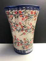 """Pottery 8"""" 6.5"""" Hand Made In Poland Millena Blue White Flower Bud Vase Pre Owned"""