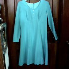 VINTAGE MOD/GoGo 1960s POWDER/BABY BLUE A-Line DRESS/CUTOUT SLEEVES Size 10