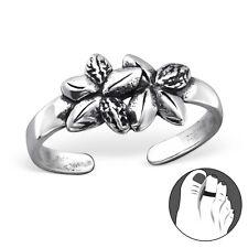 Tjs 925 Sterling Silver Toe Ring Double Flower Adjustable Jewellery Oxidised