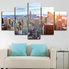 Framed New York City Skyscrapers Suny Poster 5 Piece Canvas Print Wall Art Decor