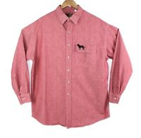 Orvis Mens Large Red Long Sleeve Button Down Casual Shirt Embroidered Pocket EUC