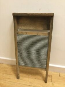 Vintage Original Wooden Galvanised Steel Washboard Washer Skiffle Board Antique