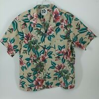 VTG Hilo Hattie Mens Tan Hawaiian Floral Short Sleeve Button Down Shirt Size XL
