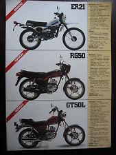 BROCHURE CATALOGUE 1981 MOTO SUZUKI  ER 21 / RG 50 / GT 50L  PROSPECTUS