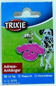 TRIXIE DOG Head SHAPED Address Tag ID Pet WRITE CONTACT DETAILS Pink