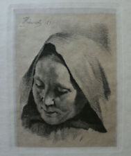 Frans Schwartz, etching. Old woman with hood 1895
