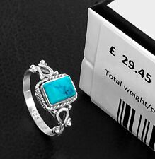 Natural Turquoise 925 Sterling Silver Rectangle Gemstone Ring £29.45 Gift Boxed