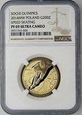 More details for 2014 gold coin poland 200 zlotych sochi olympic au ngc pf69 low mintage