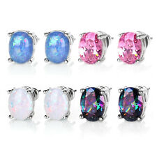 Hypoallergenic Stainless Silver Plated Round Cut Stud White Fire Opal Earrings