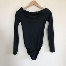 NWT Tibi Black Wool Bodysuit Off The Shoulder XS $285
