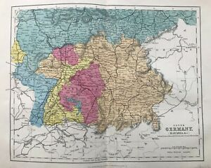 1875 Antique Map; South Germany (Bavaria etc.)