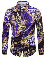 Luxury Golden Flower Baroque Design Slim Fit Long Sleeve Casual Dress Shirts