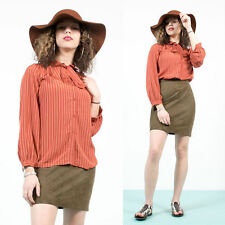 WOMENS VINTAGE 70'S STYLE RED STRIPED RETRO PATTERN TIE NECK BLOUSE SHIRT 12