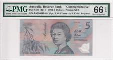 """1992 Australia 5 Dollars P-50b """"Commemorative""""PMG 66 EPQ Gem UNC"""