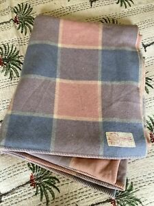 Vintage MyHall Pure Wool Queen size Blanket Pink Blue Check excellent used cond