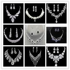 Wedding Bridal Jewellery Crystal Rhinestone Necklace Earrings Set Party Prom UK