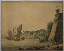 ANCIEN DESSIN À L'AQUARELLE SUR PAPIER XIXe OLD WATERCOLOR DRAWING ON PAPER 19e
