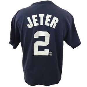 Derek Jeter 2 NY Yankees t shirt size L large blue Majestic cotton