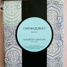 Cynthia Rowley Floral Medallion Ombre Shower Curtain 72x72 Blues Cotton Blend