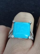 Genuine Top Blue Sleeping Beauty Turquoise & Diamond Silver Ring Size 7