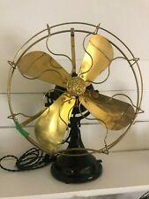 """Restored Antique Original GE 18"""" Sidewinder Brass Blade/Cage Desk Fan"""